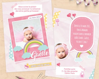 Personalized birth announcement (daughter) - scrapbooking and polaroid Collection