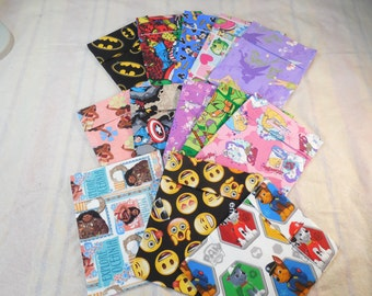 Reusable Sandwich/Snack  Bags-Character Sandwich Bags-Snack Bags-Character Snack Bags-Children Snack Bags
