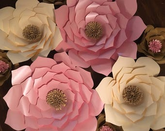 Pink, Ivory/Cream and Gold Paper Flowers, Nursery Decor, Wedding decoration, Backdrop