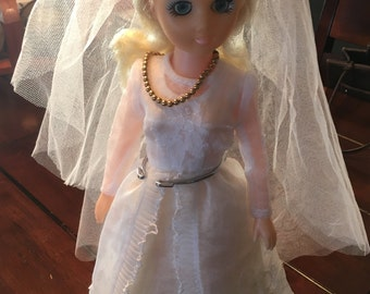 Vintage bride doll, bridal gown and veil