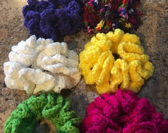 Crochet elastic scrunchies each set of six