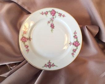 Vintage Bread Plates, Set/5, 1930s H&C Heinrich Rosalinda China, Cottage Chic China, Selb Bavaria, Red Roses