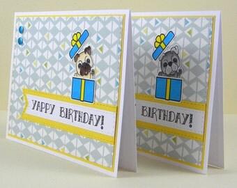 Pug Birthday Card, Pug Card, Handmade Pug Card, Dog Birthday Card