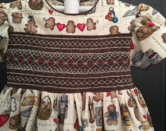 ON SALE!  Smocked Gingerbread Dress  Size 5 100% Cotton