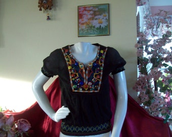 "Hippie-Peasant-Boho Top by ""Just Funky"", NWT, size Small"