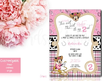 Minnie Mouse Cowgirl Party Invitation (First Time Buyers - 2.00 OFF - Coupon Code - HUGS1)