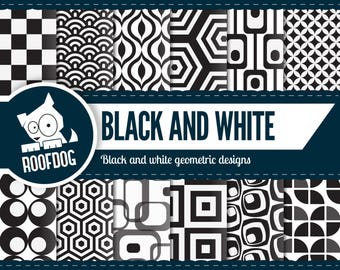Black and white digital paper   bold geometric pattern   1950s   1960s   1970s   vintage pattern   retro background   wallpaper pattern