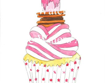 Watercolour cupcake print A3