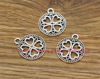 20pcs Clover Charm Good Luck 4 Leaf Clover Charm Antique Silver Tone 18x22mm cf3044