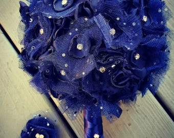 Prom bouquet, bouttinner and matching hair piece set custom