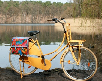 colorful bicycle bag for porter - saddlebag - pannier - doble pocket - bike panniers from oilcloth, waterproof, retro look