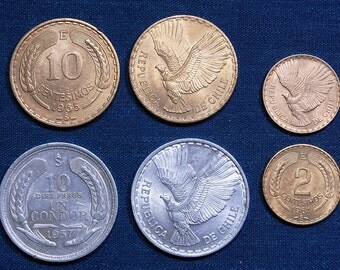 Chilean Condors - 6 Beautiful Coins, 20 mm, 26 mm, and 29 mm respectively
