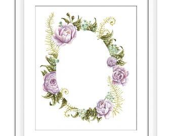 Art Print of Original Watercolor | Flowers | Purple Peonies Wreath | Home Decor