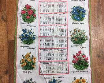 1978 Calendar Tea Towel Swiss Made Alba Cotton