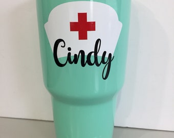 Seafoam Blue 30oz Powder Coated Stainless Steel Tumbler with custom decal Teal/Cyan/Mint