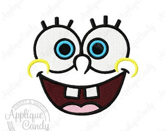 Spongeb0b Face Solid Fill Machine Embroidery Design 2x2 3x3 4x4 sponge pants square bob INSTANT DOWNLOAD