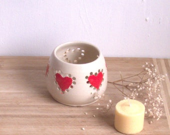 Ceramic heart  tealight holder, gift for her  handmade pottery tea light holder. Pottery candle holder. Ceramic luminary. Heart design.