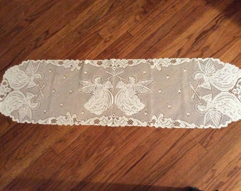 "Hark The Angels White 52"" x 14 1/2"" Lace Runner"