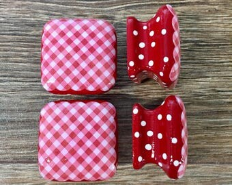1.5 inch square wooden cabinet knobs, drawer pulls, red and white gingham, red and white checks, dishware inspired, white polka dots