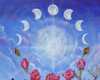 Unity, Deer, Moon Phases, Dove and Roses Art Print, Wall Art, Home Decor, Meditation, Spiritual Art