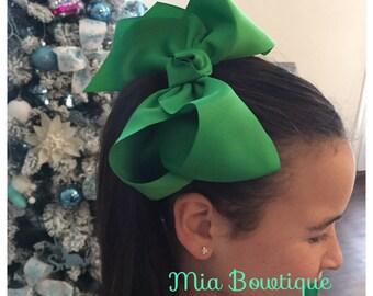 Extra Large Green Hair Bow, XL Green Hair Bow,  Jumbo Green Hair Bow, Large Green Hair Bow, Christmas Hair Bow, Ready to Ship!