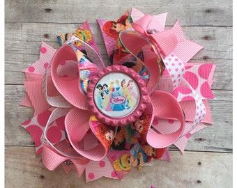 Princess Hair Bow, Disney Princess Inspired Hair Bow, Ariel Princess Hair Bow,  Belle Princess Hair Bow,Cinderella Bow, Ready to ship