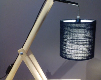 Wooden fabric shade table lamp