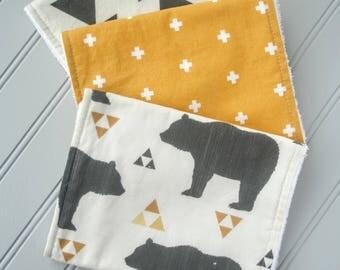 Bear Burp Cloths | Burp Cloth Set| Baby Shower Gifts Burp Rags | Boy Burp Rags | Nature Baby | Explorer Baby | Adventure Baby