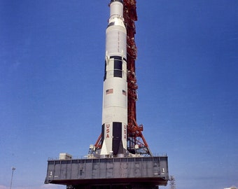 Ground-Level View of Apollo 11 Saturn V Spacecraft on Crawler - 5X7 or 8X10 NASA Photo (BB-014)