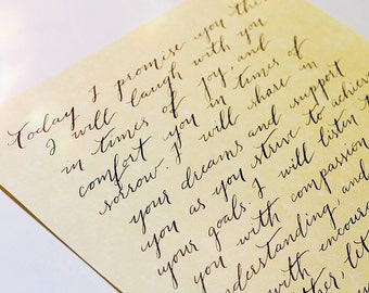 Custom Handwritten Vows