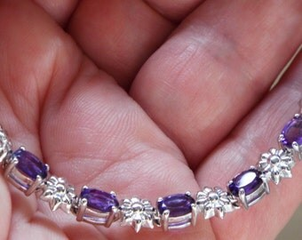 Clearance***Clearance***Lusaka Amethyst Bracelet Platinum Overlay Sterling Silver 6.5 inch***Clearance***Clearance up to 7.5 inch 4.0 carats
