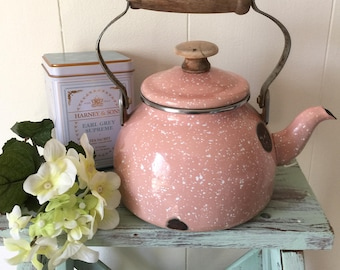 Vintage Tea Kettle, Pink and White Speckle-ware Tea Kettle, Enamel Tea Kettle