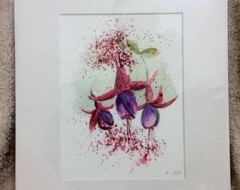 """Fuchsia in pink and purple 12"""" x 10"""" Original watercolour painting"""