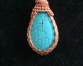 Beautiful Turquoise and copper pendant