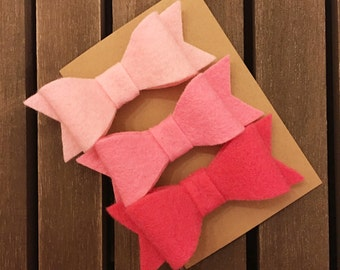 Felt Bows, Set of Felt Bows, Hair Clips, Ombre Felt Bows, Pink Felt Bows