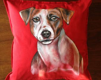 Jack Russel - hand painted cushion cover red