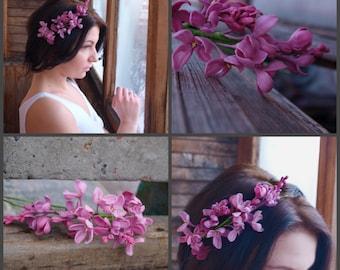 Lilac Flower Crown Floral Headband  ,lilack Romantic, violet headband