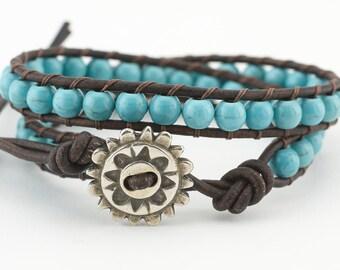 Leather wrap bracelet, Wrap bracelet, Turquoise, Bohemian, Boho, Wrap bracelet, leather, bracelet
