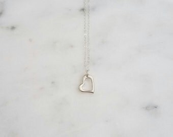 Silver Open Heart Necklace, Sterling Silver Necklace, Delicate Necklace, Silver Heart Necklace, Sterling Silver Heart, Layering Necklace