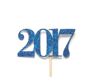 12 Glitter 2017 Cupcake Toppers, Happy New Year Cupcake Toppers, New Year Cupcakes, Holiday Party Cupcake Toppers, New Years 2017
