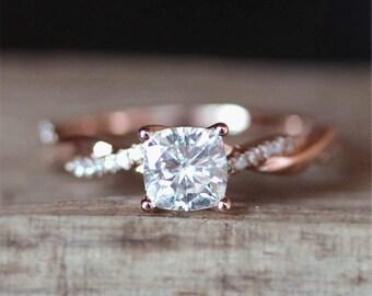 C&C Moissanite Engagement Ring Forever Brilliant 5mm Cushion Cut Moissanite Ring Half Eternity Diamonds Ring 14K Rose Gold  Engagement Ring
