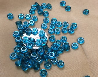 Bright Aqua Glass Pony Beads - 80 pieces - #791