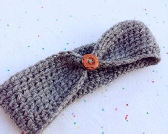 Baby Ear Warmer / Turban Style Crochet Headband hairband/ Wooden Button /Stylish Winter, Spring Accessory/ All Sizes / Baby Shower gift idea