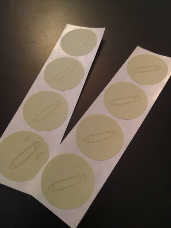 Safety Pin Stickers on Sage Green