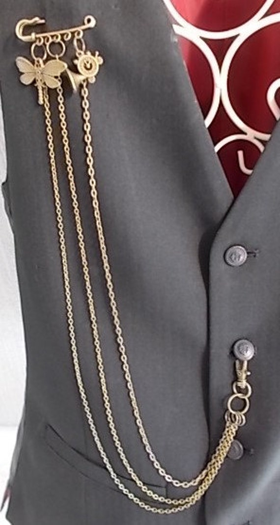 Steampunk Waistcoat charm and chain adornment