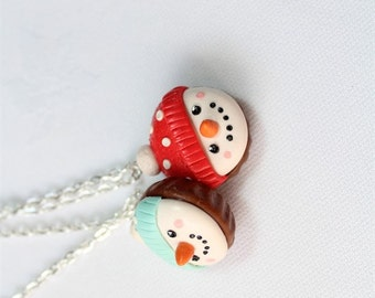 Snowman Christmas ornament Bff necklace keychains Christmases key rings gift for two Christmas's polymer clay charm food friendship jewelry
