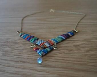 Handmade colorful macrame necklace