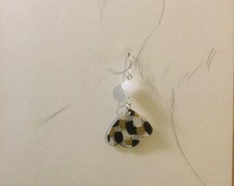 Black and white bird earring