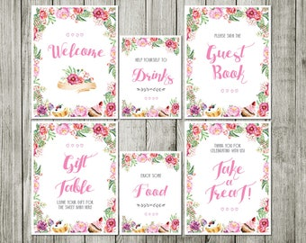 table sign Watercolor flower baby shower invitation - Baby shower vintage - garden floral baby shower invitation
