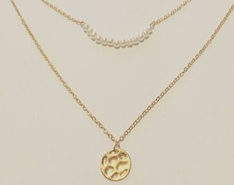 18k Gold Filled Layered Bead And Gold Textured Disc Pendant Necklace